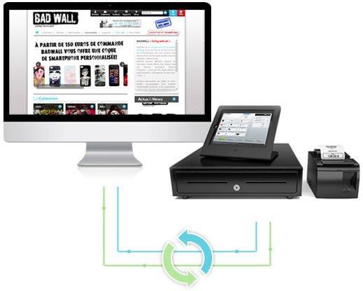 Le logiciel de caisse enregistreuse Shop Application permet de relier automatiquement les stocks, les commandes et les clients de votre boutique en ligne et de votre magasin physique.