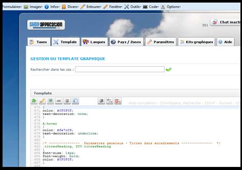 L'interface de gestion de templates simple et intuitive permet de personnaliser tous les élèments graphiques du site de vente en ligne
