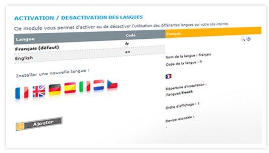 Possibilité de traduire votre site en sept langues différentes et possibilité d'adapter les taux de change automatiquement en fonction de chaque devises